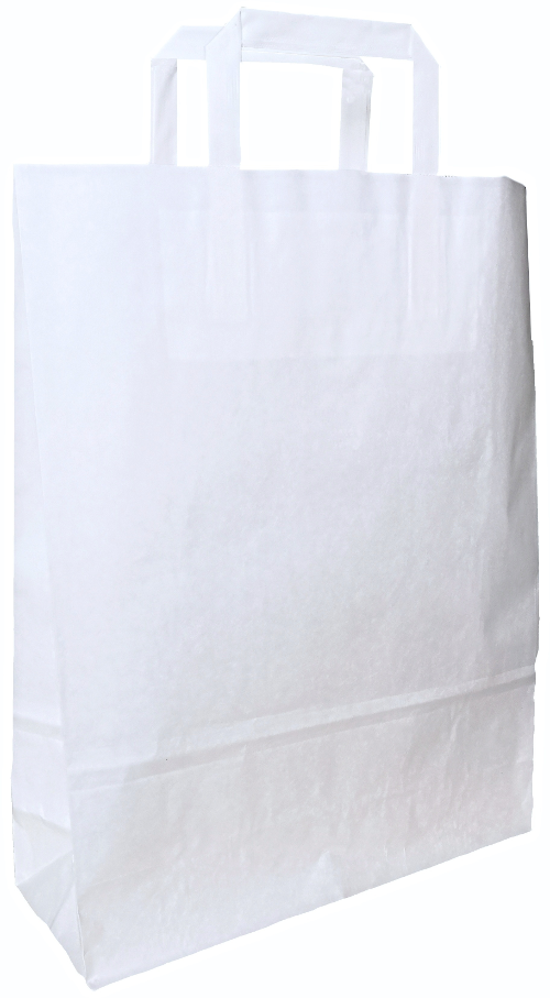 Carrier bag white with flat handle 240x110x330mm