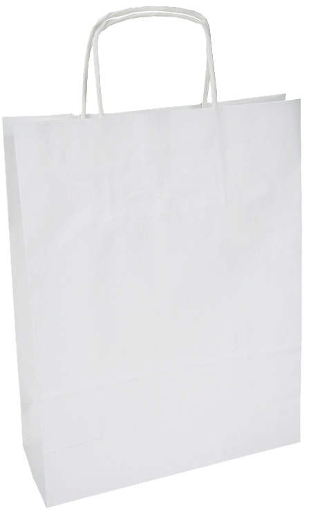 Carrier bag white with twisted handle 240x110x330mm